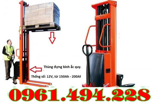 Xe nâng bán tự động 1 tấn nâng 1m6 mới