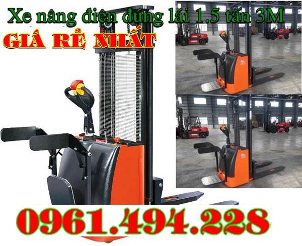 xe nâng điện đứng lái 1.5 tấn nâng 1m6